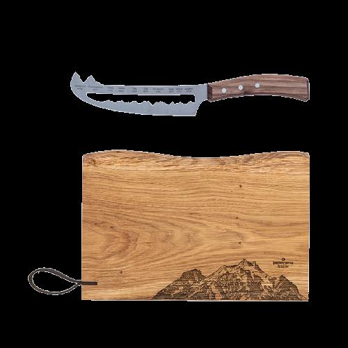 Couteau à fromage et planche à découper en bois