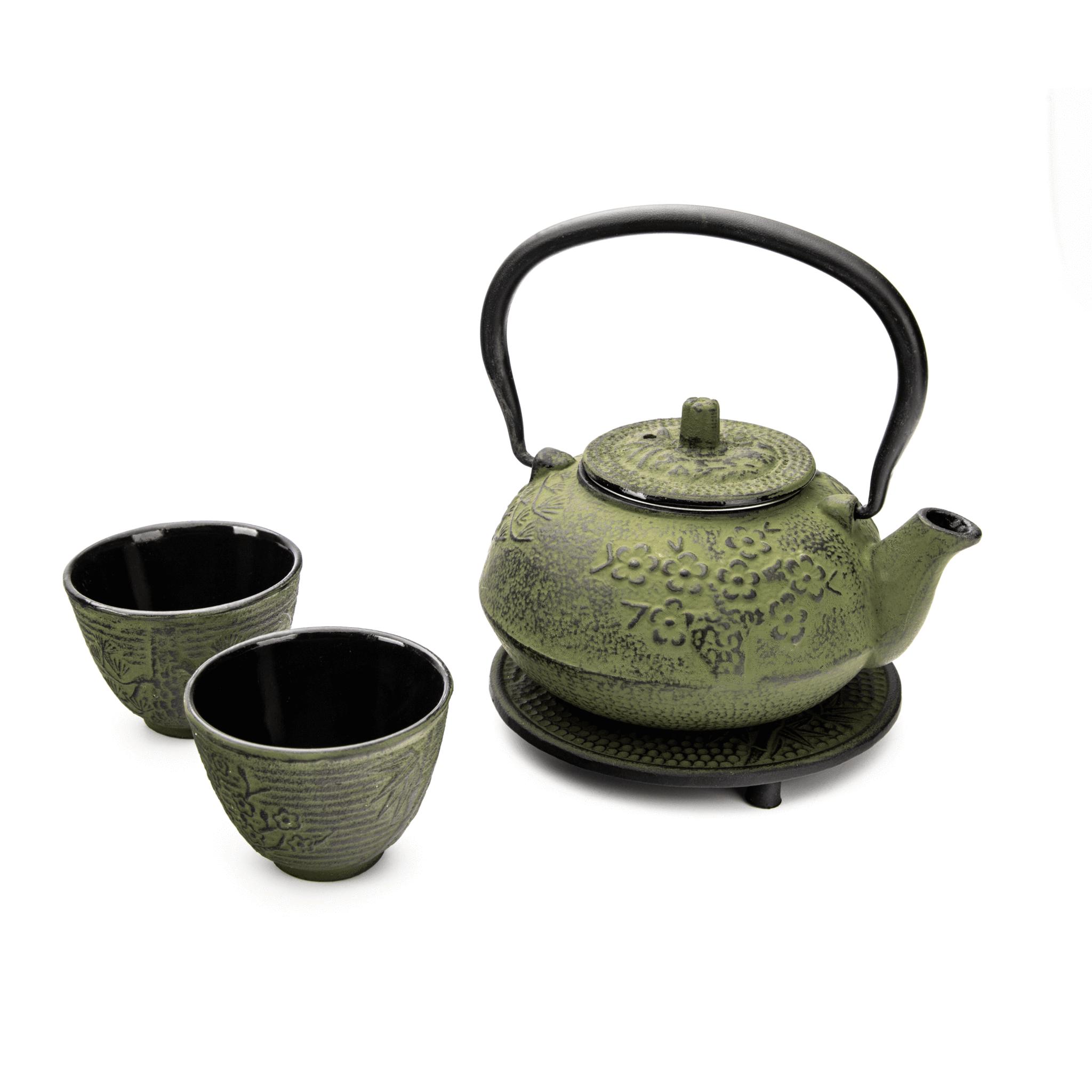 """Teekannen-Set """"grüne Blumen"""""""